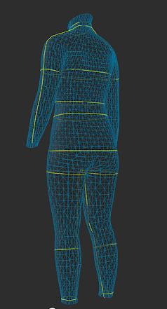 zozoスーツ3Dモデル背後から見ました
