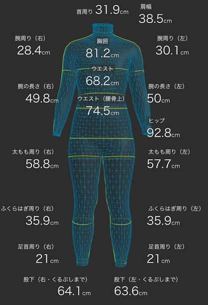 zozoスーツ3Dモデル【ダイエット開始から1ヶ月後】
