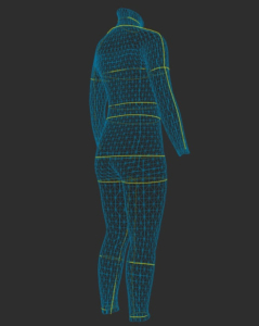 後ろから見たZOZOスーツ 3Dモデル