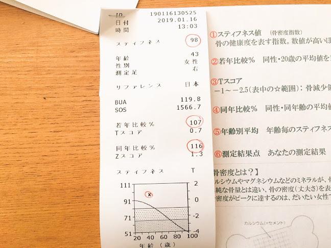 体バランス測定結果 骨密度測定