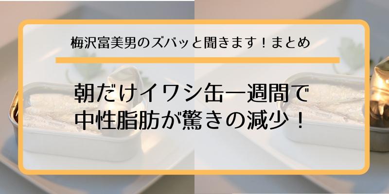 【梅ズバまとめ】朝だけイワシ缶で中性脂肪が驚き減