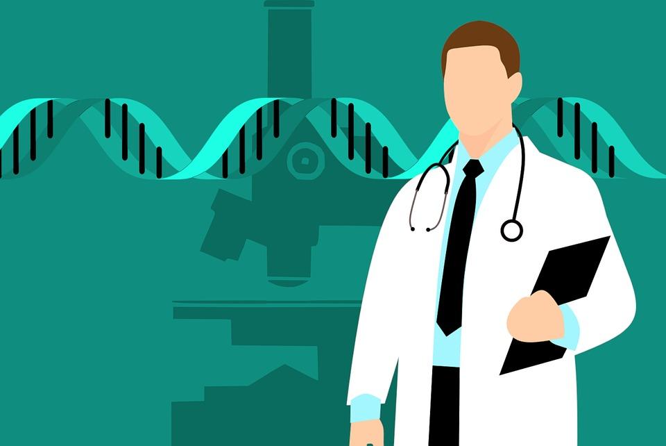 遺伝を説明する医者